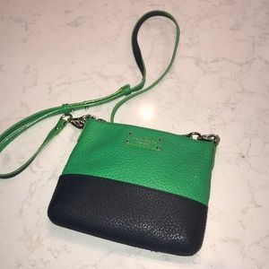 navy and green kate spade cross body